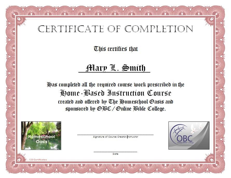 Doc713551 Sample School Certificate Certificate of Honor – Example of Certificate of Completion